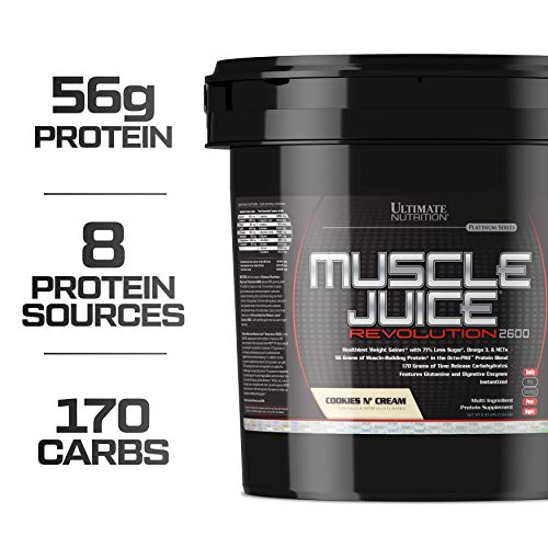 Ultimate Nutrition Muscle Juice Revolution Weight and Muscle Gainer Protein Powder with Egg Protein, Micellar Casein, and Maltodextrin, Cookies N Cream, 11.1 Pounds (Best Workout For Mass)