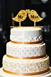 Mr & Mrs Wedding Cake Topper, Birds Wedding Cake Topper, Gold Wedding Cake Topper, Wedding Cake Topper, Gold Glitter Wedding Cake Topper (15'', Glitter Gold)