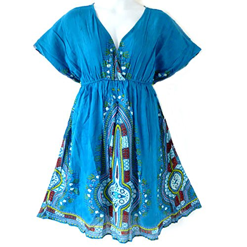 119 - Plus Size Dashiki Printed Babydoll Cover-Up Vacation Dress (3X, Blue)