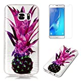 For Samsung Galaxy S6 Case with Screen Protector,OYIME Glitter Slim Fit Clear Silicone TPU Anti-Scratch Drop Proof Resistant Rubber Protective Back Cover (Pineapple)