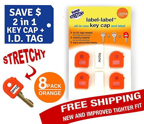 Key Caps Tags - Stretchy 2-in-1 Key Cap AND Tag - ONE SIZE FITS MOST KEYS - 8 Pack-Orange - Includes Blank Labels and Printed Labels - Key Covers, Name Tags, Identify Tag