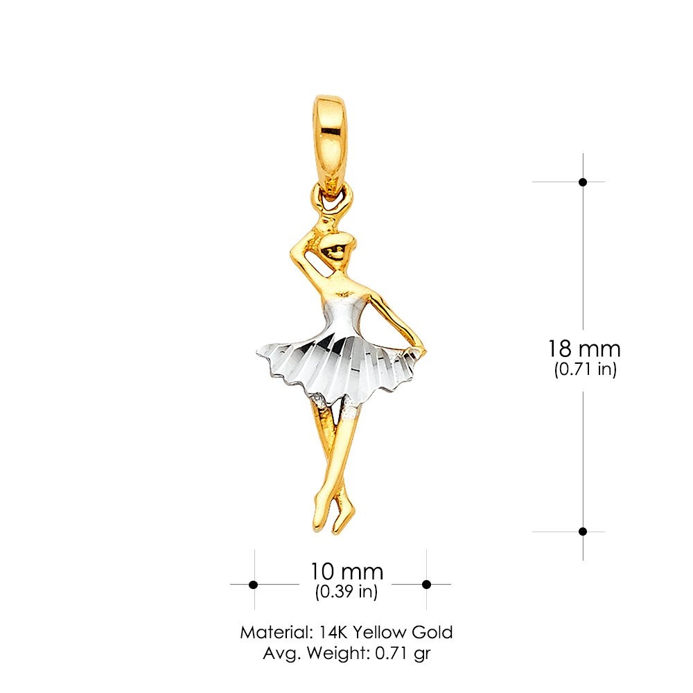 14K Two Tone Gold Dancing Twirl Ballerina Charm Pendant For Necklace or Chain
