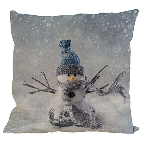 Hot Sale Christmas Pillowcase,Han Shi Snowman Cotton Sofa Cushion Cover Home Decor Pillowslip (I, L)
