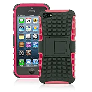 JKase DIABLO Series Tough Rugged Dual Layer Protection Case Cover with Build in Stand for Apple iPhone 5 - Retail Packaging (Pink)
