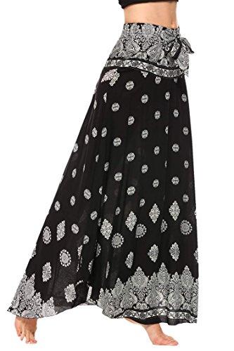 Ouyilu Women's Long Bohemian Hippie Skirt High Waist Floral Print Self-Tie Belt (Hippie Tie Print)