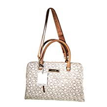 Calvin Klein Signature Almond Leather Bowler Satchel Tote Handbag