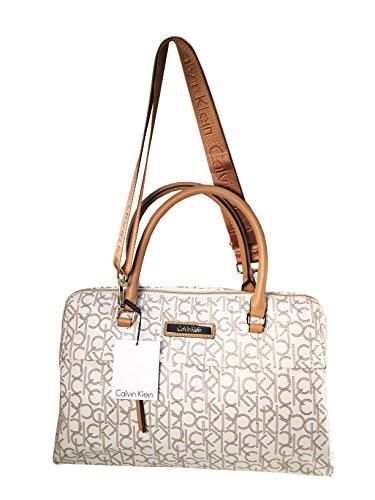 Calvin Klein Signature Almond Leather Bowler Satchel Tote Handbag (Www Calvin Klein)