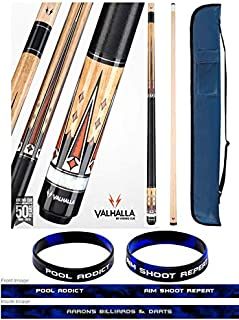 product image for Valhalla VA702 by Viking 2 Piece Pool Cue Stick, Linen Wrap, 10 Point Transfers, White Pearl Ring, Metal Rings, High Impact Ferrule, 18-21 oz. Plus Cue Case & Bracelet