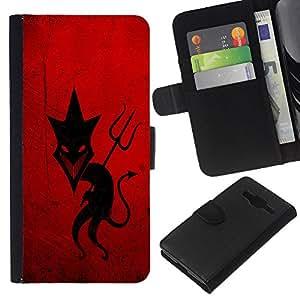 Sly Devil - la tarjeta de Crédito Slots PU Funda de cuero Monedero caso cubierta de piel Samsung Galaxy Core Prime