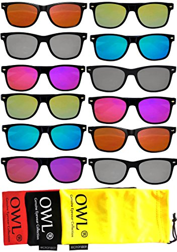 Retro Vintage Sunglasses Colorful Mirror Lens Matte Frame 3,5,6,10 Pairs. (12_Pack_FLAT_LENS, - Cheap Mens Sunglasses