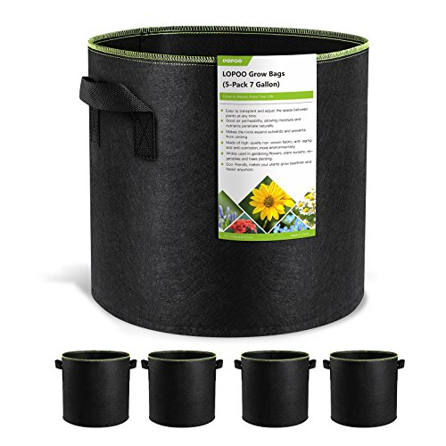 LOPOO 5-Pack 7 Gallon Plant Grow Bag Aeration Fabric Pots with Handles Prevent Root Circling Portable Permeable Breathable Planting Bag for Garden by LOPOO