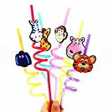Minibaby Happy Zoo Pack of 6 Pieces Re-use Party Drinkware Straws for Kids Baby Child
