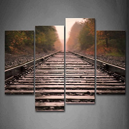 First Wall Art - Sunbeam And Quiet Railroad Wall Art Painting The Picture Print On Canvas City Pictures For Home Decor Decoration -