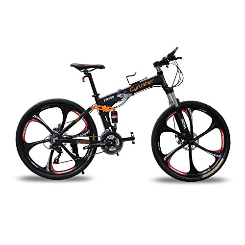 51uIF KAJIL. SS500  - Cyrusher New Updated Black FR100 Hardtail Mountain Bike Folding Frame MTB Bike Dual Suspension Mens bike Matt Black Shimano M310 ALTUS 24 Speeds 17inch*26inch Aluminum Frame Bicycle Disc Brakes (black)