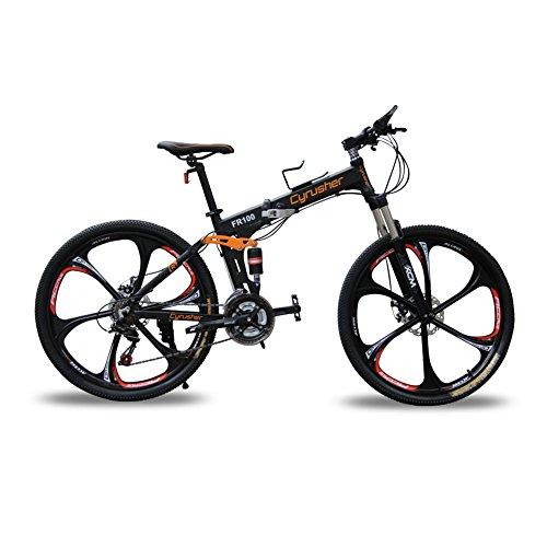 Cyrusher New Updated Black FR100 Hardtail Mountain Bike Folding Frame MTB...