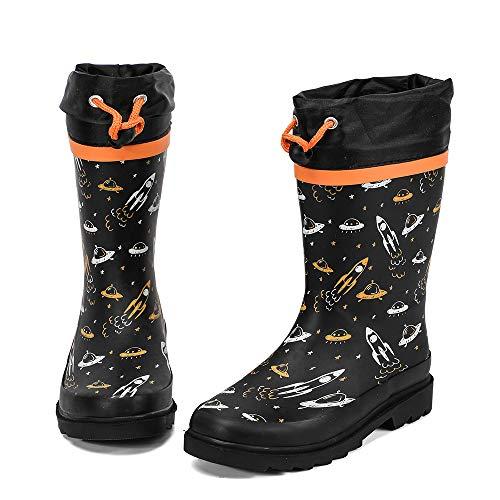 ALEADER Kids Waterproof Rubber Rain Boots for Girls, Boys & Toddlers with Fun Prints & Handles Black Orange 3 M US Lttile Kid (For Boots Kids Rain Rubber)