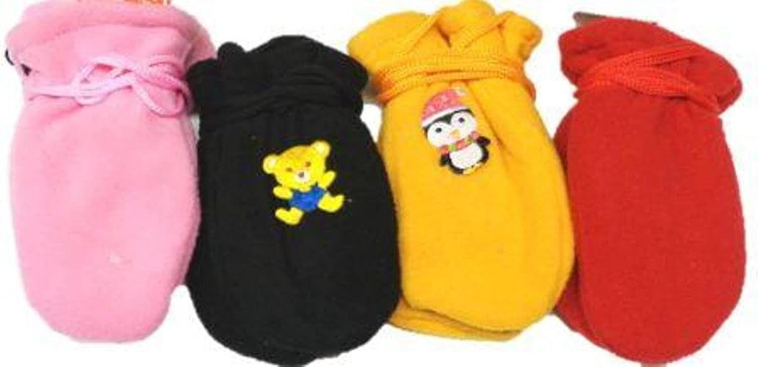 Four Pairs of One Size Very Warm Fleece Mittens for Infants Ages 0-6 Months supplies