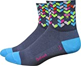 Defeet AIRLVBUG101 Aireator Love Bug 3'' Socks, Small, Graphite/Light Blue