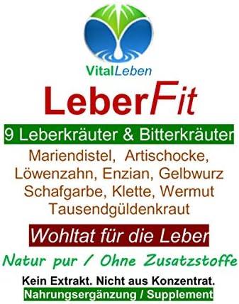 Leber FIT 9 Leberkräuter & Bitterkräuter 180 Kräuter Kapseln. Wohltat für alle normalen Leberfunktionen NATUR pur OHNE Zusatzstoffe. 26459-180