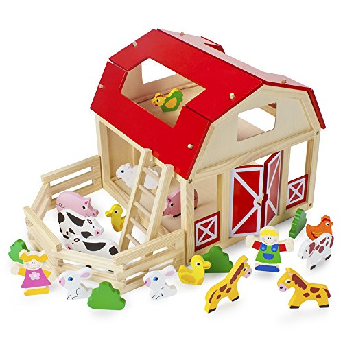 Imagination Generation Wooden Wonders Busy Barnyard Farm Animals Playset with 22 Accessories