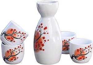 Tosnail 5 pcs Ceramic Japanese Sake Set - Orange Blossom