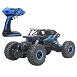 Hugine 2.4Ghz 1/18 Scale RC Rock Crawler Vehicle Toy 4 WD Fast Race Monster Off-Road Truck (Blue)