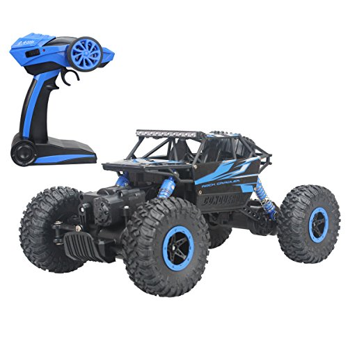 Hugine 2.4Ghz 1/18 RC Car Rock Crawler Vehicle Toy 4 Wd Fast Race Monster Off-Road Truck (Blue)