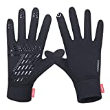 anqier Running Gloves,Lightweight Touchscreen Cycling Windproof Gloves Women Men Climbing Driving Sports Compression Liner Gloves for Winter Early Spring Or Fall