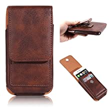 "Esing 4.7"" Universal Phone Faux Leather Holster Pouch with Card Slot Rotation Belt Clip for iphone 6 6s 7 Samsung Galaxy S3 HTC M7 Xperia X Compact (4.7"", Brown)"