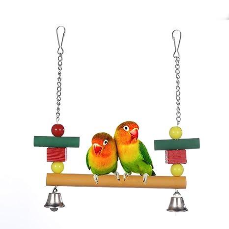 CWZJ Mascota pájaro Loro Swing Madera Abalorios Escalera cotorra ...