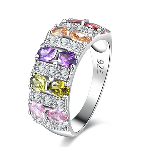 (White Pink Purple Red Fire Cat's Eye Opal Crystal Ring White Gold Plated Women Jewelry Gemstone Agate Ring Size 6-10)