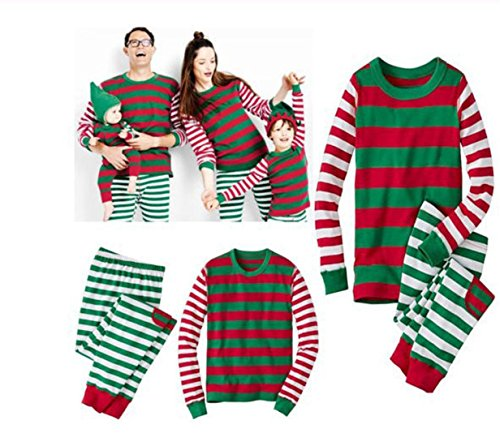 HANYI Family Clothes Outfits, Mommy Daddy & Baby Kids RED Santa Striped Full Cotton Long Sleeve Family Matching Christmas Pajamas Sets (M, Adult Green)
