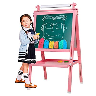 3 in 1 Wooden Kids Easel Double-Sided Magnetic Drawing Board Whiteboard & Chalkboard Dry Easel with Drawing axis & Paper Roll, Bonus Magnetics, Numbers, Paint Cups for Writing Kids Boys Girls