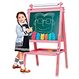 3 in 1 Wooden Kids Easel Double-Sided Drawing Board Whiteboard & Chalkboard Dry Easel with Drawing axis & Paper Roll, Numbers, Paint Cups for Writing Kids Boys Girls (Pink)