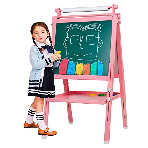3 in 1 Wooden Kids Easel Double-Sided Magnetic Drawing Board Whiteboard & Chalkboard Dry Easel with Drawing axis & Paper Roll, Bonus Magnetics, Numbers, Paint Cups for Writing Kids Boys Girls(Pink)