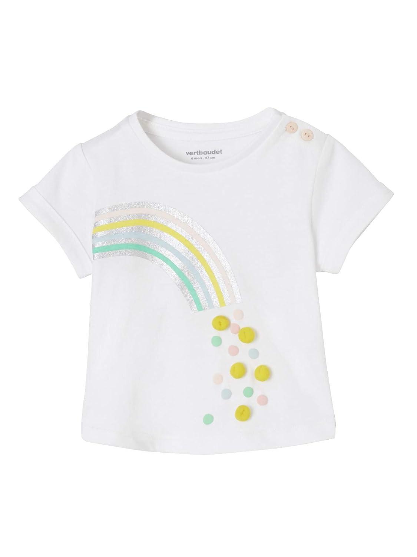 Vertbaudet T-Shirt b/éb/é Fille Motif Arc en Ciel ou Licorne et Animation en 3D