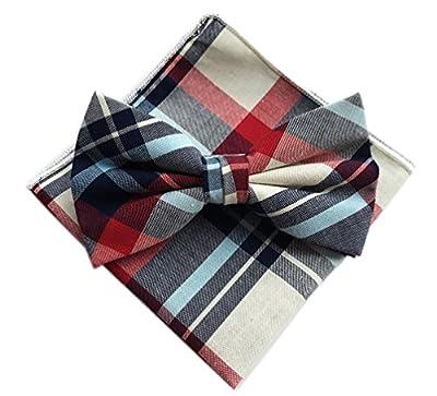 Elfeves Men's Cotton Bow Ties Set Pre-Tied Power Checks Tuxedo Handmade Nearwear