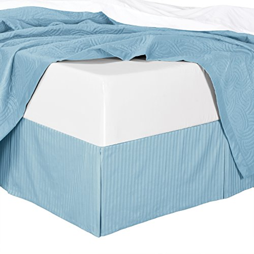 King Striped Blue Cotton Bed-Skirt, Pleated Tailored Bed Skirt with 15
