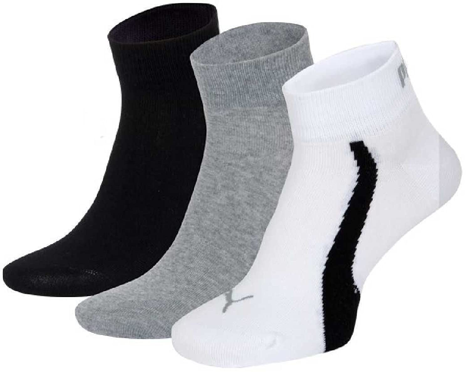 6 pair Puma Quarter Sneaker Socks Unisex Mens & Ladies In 3 Colours
