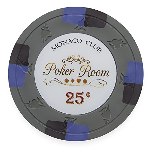Claysmith Gaming Pack of 50 Monaco Club Poker Chips, Heavyweight 13.5-Gram Clay Composite (0.25 Gray)