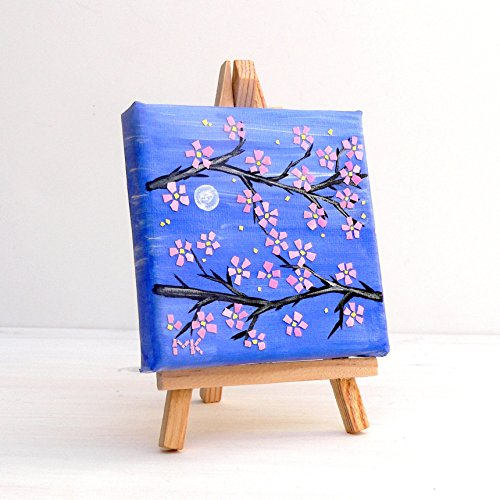Mosaic Wall Art Original ACEO Painting Cherry Blossom EggShell Mixed Media Collage Home ()