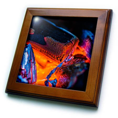 Campfire Framed (3dRose Alexis Photography - Texture Fire - Burning wood in a stove or a campfire - 8x8 Framed Tile (ft_270329_1))