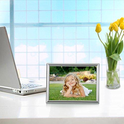 Bojin 4x6 Inch Picture Frames Plastic Table Top Photo Frame 10x15 Cm Silver Home Garden Decor