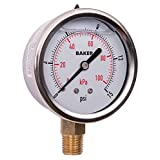 Baker Instruments AVNC Series Stainless Steel Dual Scale Pressure Gauge, 0 to 15 psi / kPa, 2.5