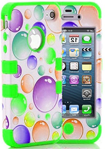 myLife Bright Green and White - Bubble Party Series (Neo Hypergrip Flex Gel) 3 Piece Case for iPhone 5/5S (5G) 5th Generation Smartphone by Apple (External 2 Piece Fitted On Hard Rubberized Plates + Internal Soft Silicone Easy Grip Bumper Gel)