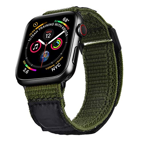 V-MORO Nylon Band Compatible with 44mm Apple Watch Bands 42mm Men Soft Breathable Woven Loop Strap Replacement for iWatch Series 5 4 3 2 1 Sport Army Green M/L