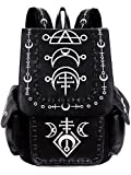 Restyle Runic Gothic Punk School Uni Backpack Festival Wicca Moon Symbols Bag - White