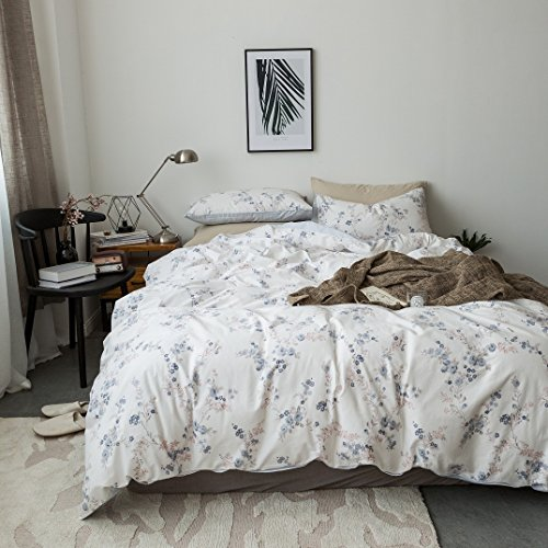 Duvet Cover Set Twin Size 3 Piece (1pc Duvet Cover + 1pc Flat Sheet + 1pc Pillowsham) by WarmGo, 100% Cotton Bedding Set White Background with Floral Flower Pattern - Not Include Comforter by WarmGo