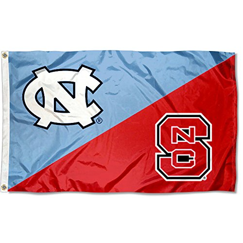 College Flags and Banners Co. UNC vs. North Carolina State House Divided 3x5 Flag