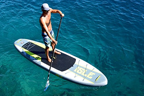 ISLE 11' Airtech Inflatable Explorer Stand Up Paddle Board (6'' Thick) iSUP Package | Includes Adjustable Travel Paddle, Carrying Bag, Pump by ISLE Surf and SUP (Image #6)